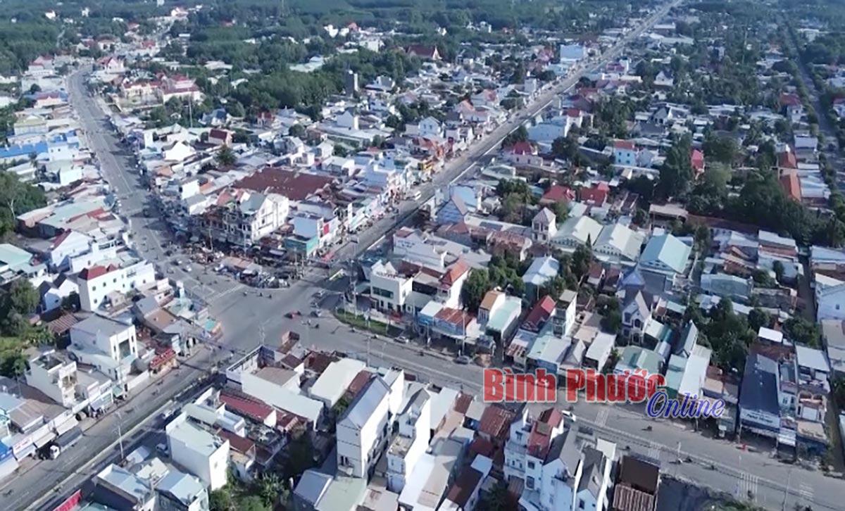 Toàn cảnh ngã tư Chơn Thành nhìn từ trên cao.(Bình Phước Online)
